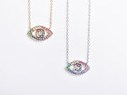 Rainbow CZ Eye Necklace