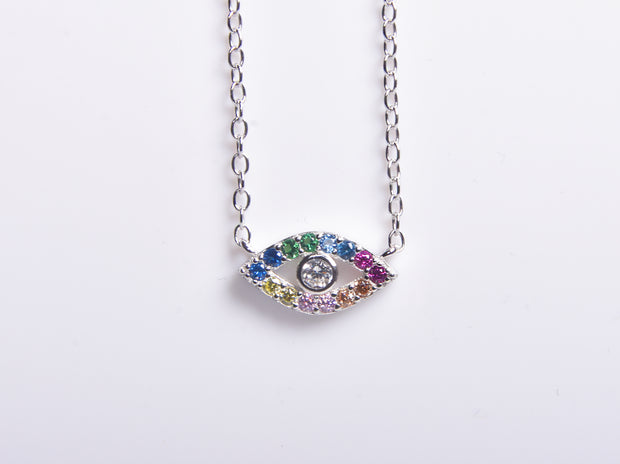 Mini Rainbow CZ Eye Necklace