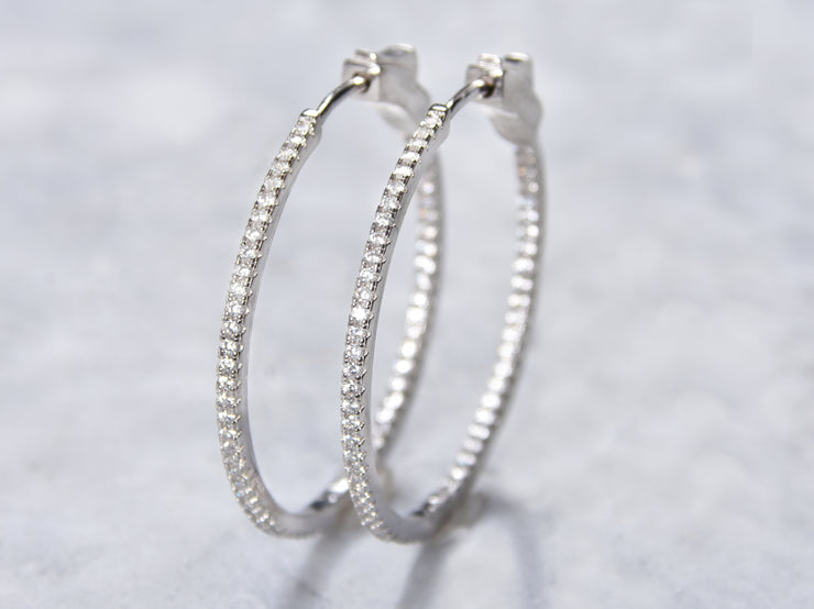 Thin CZ In And Out Hoop Earrings