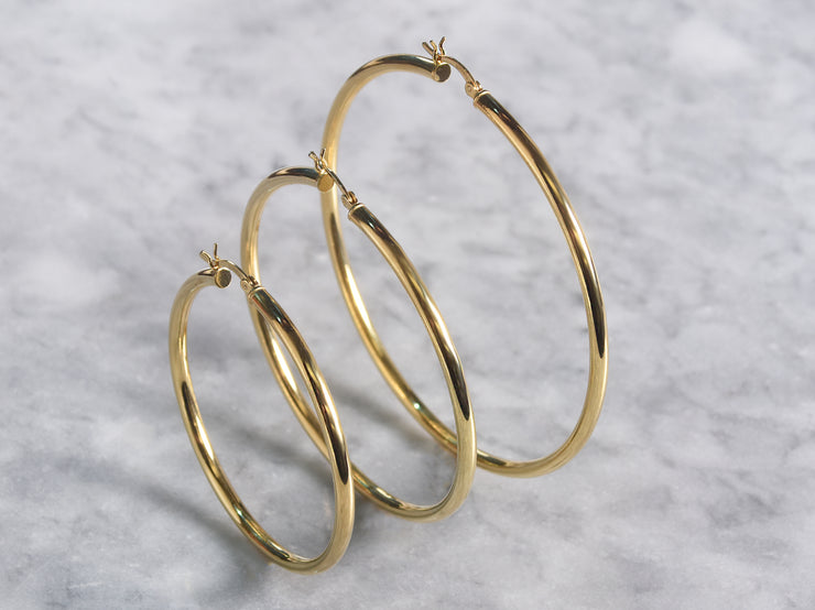 3MM Classic  Gold Plated Hoop Earrings