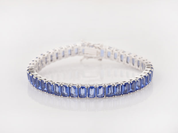 Solid Colored Emerald Cut Tennis Bracelets