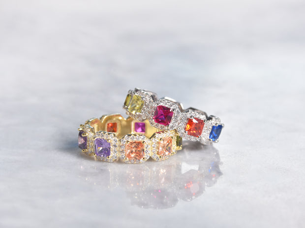 Multicolored CZ Eternity Ring With Halo