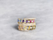 Layered Rainbow Marquise Ring