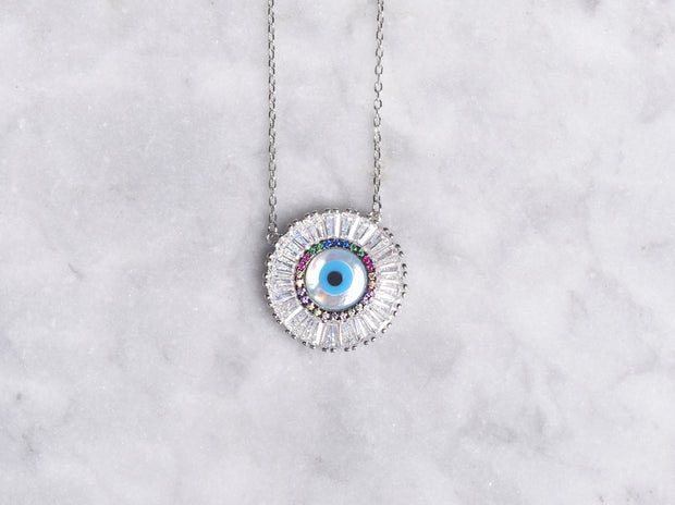 Baguette CZ Eye Necklace