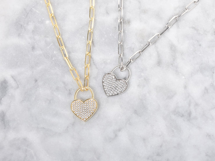 PaperClip Chain Heart Necklace