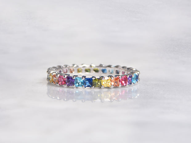 Thin Princess Cut Rainbow Eternity Ring