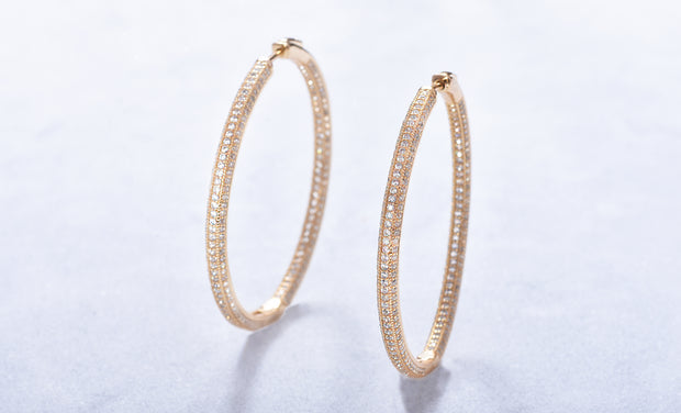 Pave In and Out Hoop Earrings