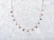Rainbow Pave CZ Star Drop Necklace