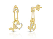Dangling Heart and Butterfly Safety Pin Earrings