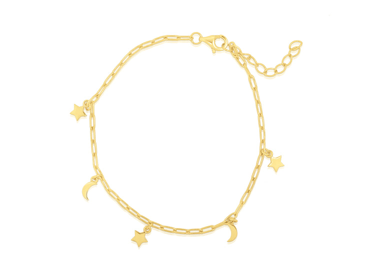 Moon And Star Dainty Bracelet