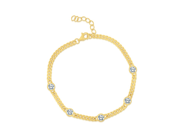 Dainty Bezel and Curb Bracelet