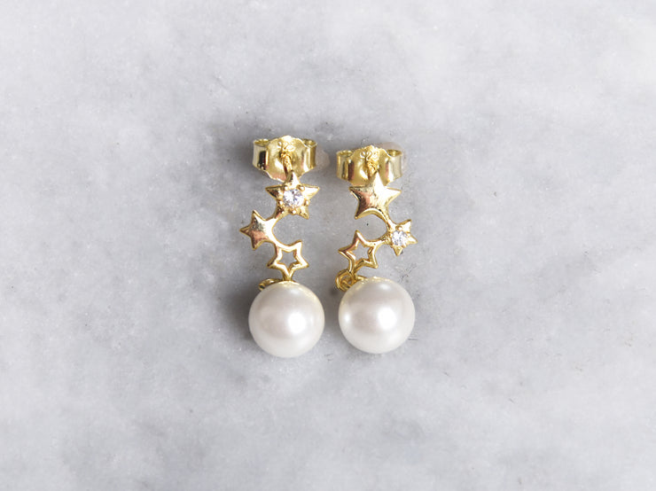 ZigZag Star and Pearl Earrings