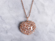 Clustered Baguette CZ Puff Heart Necklace