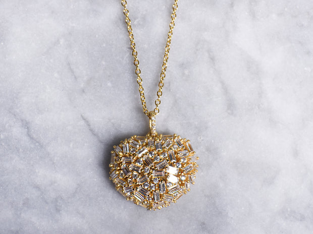 ed48f4021 Clustered Baguette CZ Puff Heart Necklace
