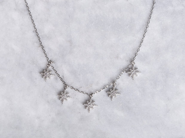 Pave CZ Star Drop Necklace