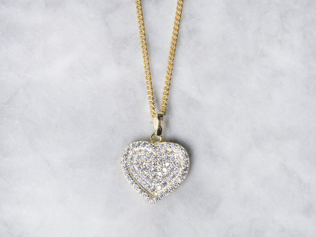 Flat Pave CZ Heart With Curb Chain