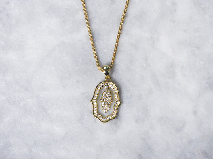 Dangling Pave CZ Hamsa with Rope Chain