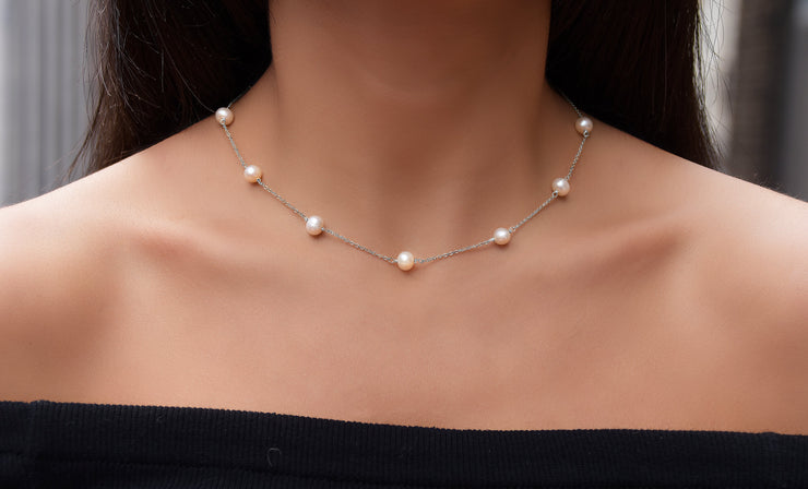 Genuine Freshwater Pearl Station Necklace