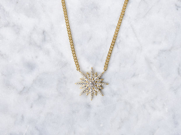CZ Starburst Choker Curb Chain Necklace