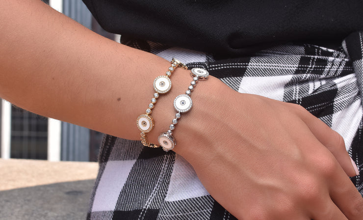 White Enamel Evil Eye Tennis bracelet