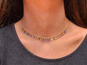 Dangling Emerald Cut Rainbow CZ Adjustable Choker