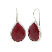 .925 Sterling Silver Genuine Gemstone Pear Drop Earrings