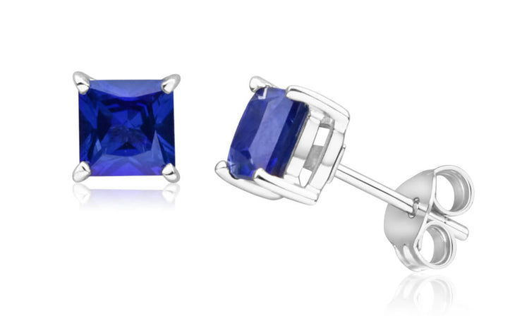 Genuine Gemstone Princess Cut Sapphire Stud Earrings in Sterling Silver