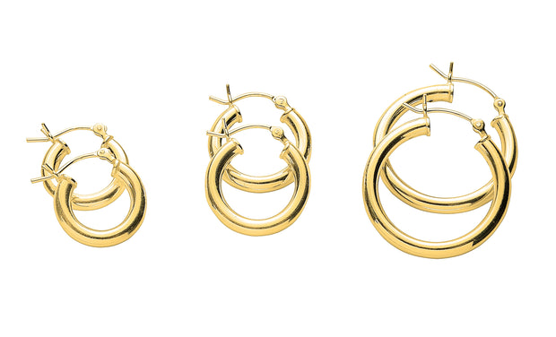 3 Set Pair Polished Hoop Earrings in 14K Gold