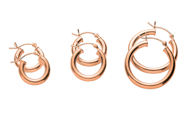 Classic Polished 3 Pair Hoop Earrings Set