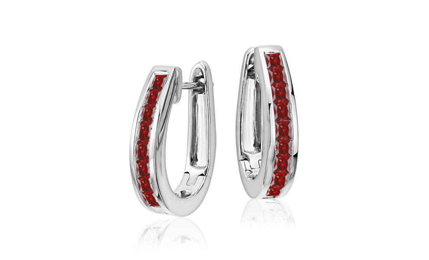 Colored Princess cut Oval Hoop Earrings