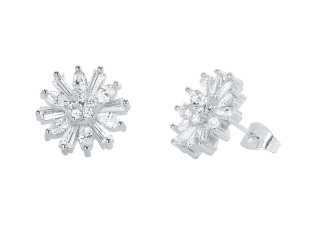 18K White Gold Plated Baguette Flower Stud Earring
