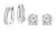 Crystal Oval Hoop and Stud Earrings Set  (2-Pack)