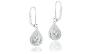 Double Halo Pear Drop Earrings