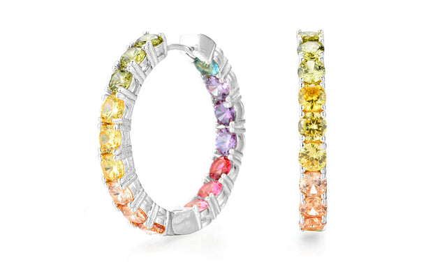 Sterling Silver Crystal Rainbow Hoop Earrings