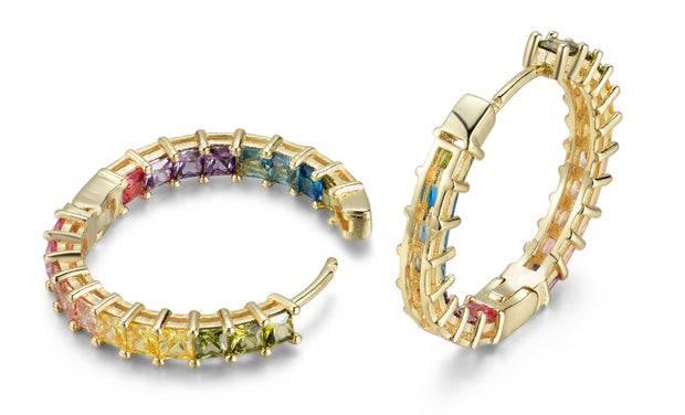 Crystal Rainbow In and Out Hoop Earrings
