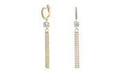 Sterling Silver Solitaire Tassel Drop Earrings