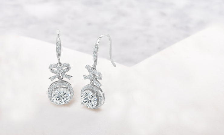 Crystal Bow and Halo Drop Earrings in 18K White Gold