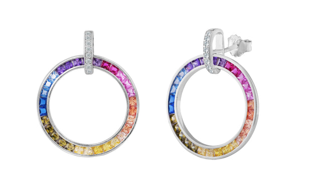 Sterling Silver Rainbow 'Circle of Life' Earrings