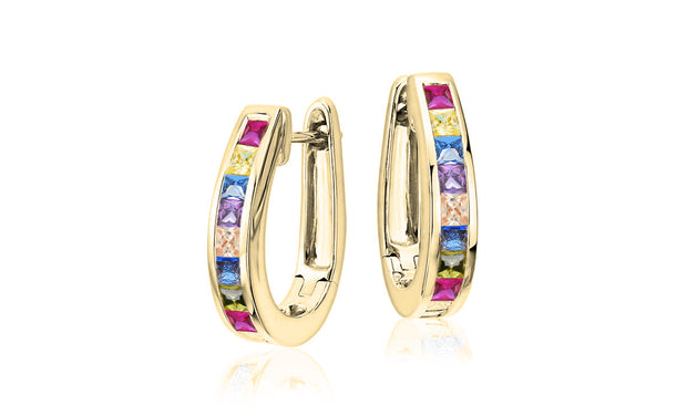4 CTTW Rainbow Oval Hoop Earrings With Crystals