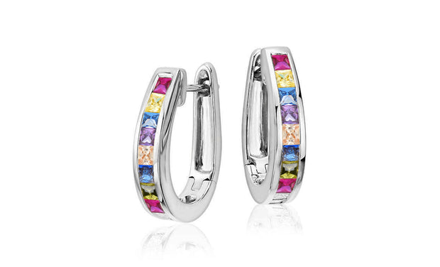 Set Of 2 Rainbow Oval Hoop Earrings