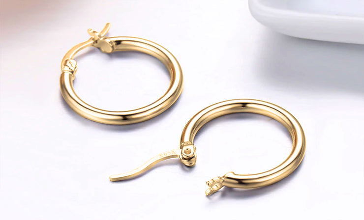 Polished Sleek 14K Gold Hoop Earrings