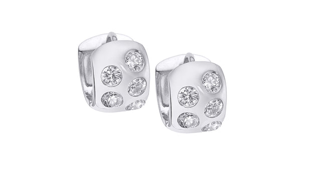 Crystal Mini Bezel Huggie Hoop Earrings