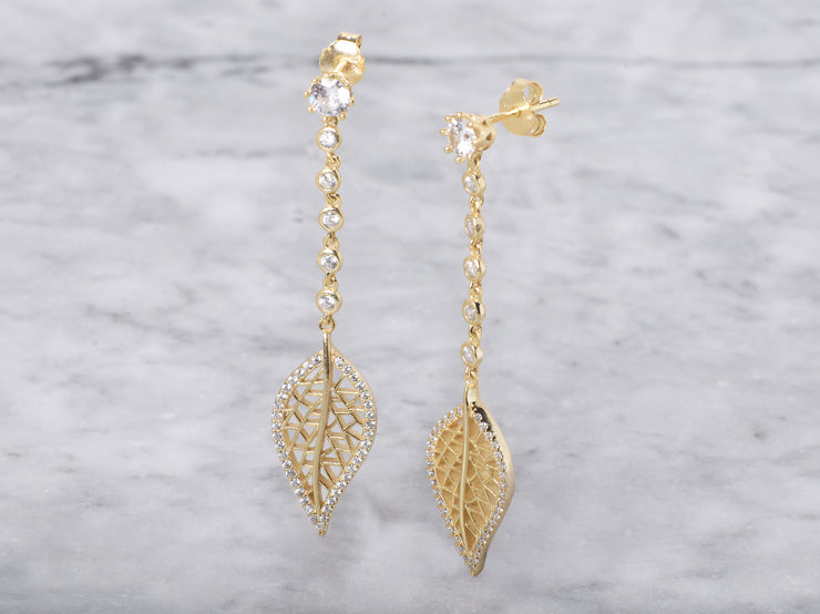 Fancy Leaf Drop Earring
