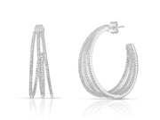 Sterling Silver 3 Claw Hoop Earring