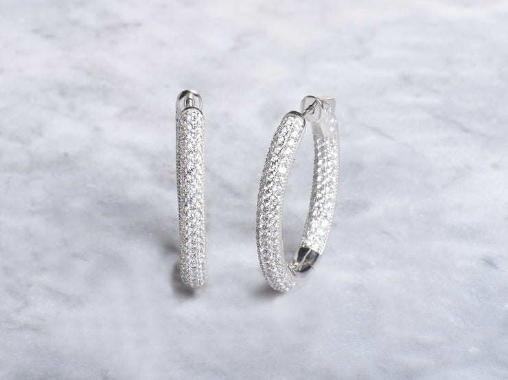 Pave In and Out Oval Hoop Earrings