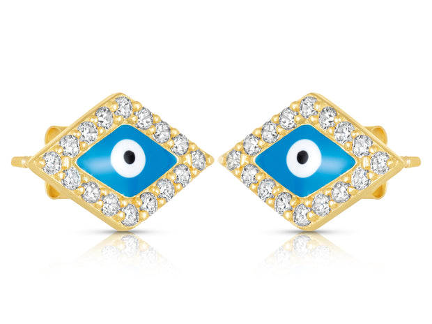 Enamel Evil Eye Stud Earrings in Sterling Silver