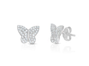 Sterling Silver Petite Pave Butterfly Stud Earrings