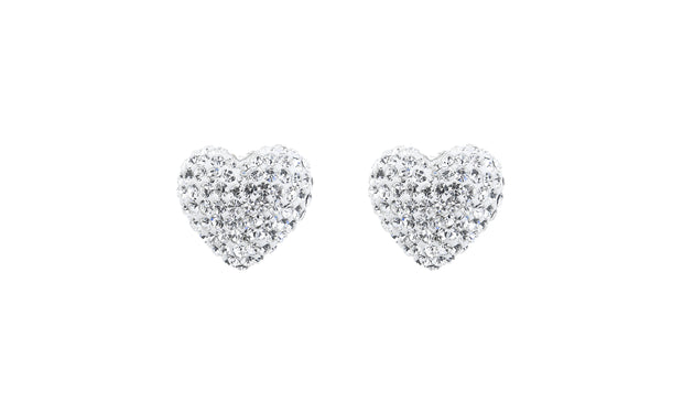 14k Gold Crystal Heart Stud Earrings