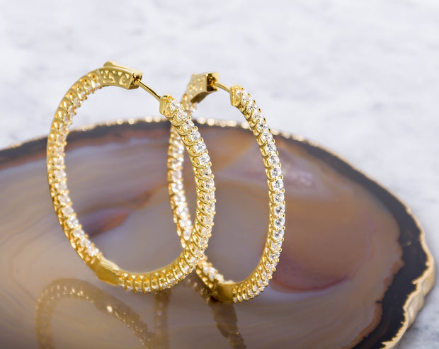 Sterling Silver 14K Gold Plated In and Out Crystal Hoops