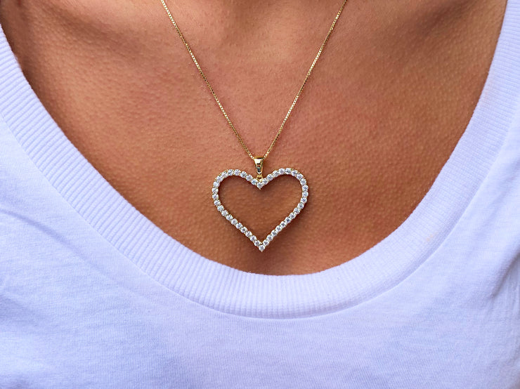 Large Open Heart CZ Necklace